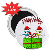 Cute Xmas Birds 2 25  Magnets (10 Pack)  by Valentinaart