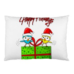 Cute Xmas Birds Pillow Case (two Sides) by Valentinaart