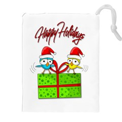 Cute Xmas Birds Drawstring Pouches (xxl) by Valentinaart