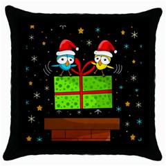 Cute Christmas Birds Throw Pillow Case (black) by Valentinaart