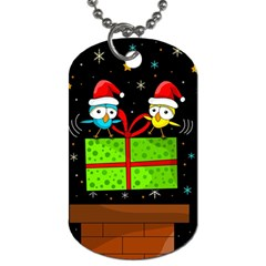 Cute Christmas Birds Dog Tag (one Side) by Valentinaart