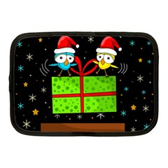 Cute Christmas Birds Netbook Case (medium)  by Valentinaart