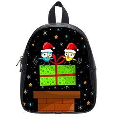 Cute Christmas Birds School Bags (small)  by Valentinaart