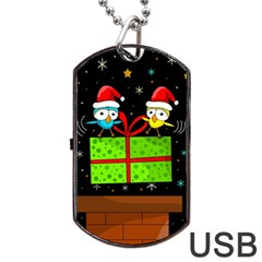 Cute Christmas Birds Dog Tag Usb Flash (two Sides)  by Valentinaart