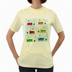 Winter Magical Landscape Women s Yellow T Shirt by Valentinaart
