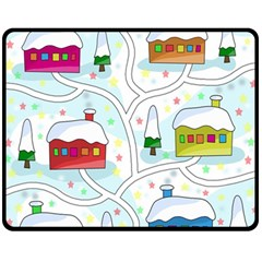 Winter Magical Landscape Fleece Blanket (medium)  by Valentinaart