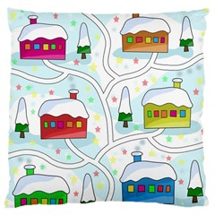 Winter Magical Landscape Large Cushion Case (one Side) by Valentinaart
