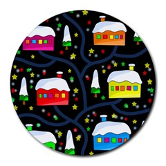 Winter Magical Night Round Mousepads by Valentinaart