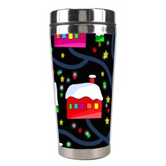 Winter Magical Night Stainless Steel Travel Tumblers by Valentinaart