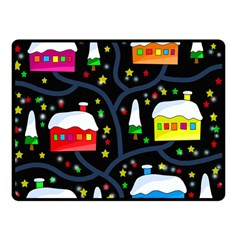 Winter Magical Night Double Sided Fleece Blanket (small)  by Valentinaart