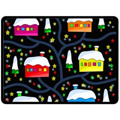 Winter Magical Night Double Sided Fleece Blanket (large)  by Valentinaart
