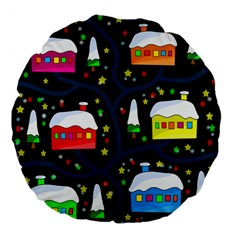 Winter Magical Night Large 18  Premium Flano Round Cushions by Valentinaart