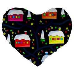Winter Magical Night Large 19  Premium Flano Heart Shape Cushions by Valentinaart
