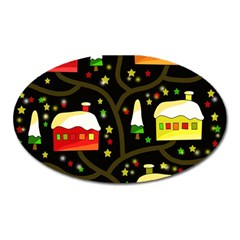 Winter  Night  Oval Magnet by Valentinaart