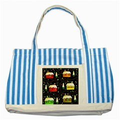 Winter  Night  Striped Blue Tote Bag by Valentinaart
