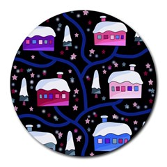 Magical Xmas Night Round Mousepads by Valentinaart