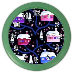 Magical Xmas Night Color Wall Clocks by Valentinaart