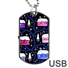 Magical Xmas Night Dog Tag Usb Flash (one Side) by Valentinaart