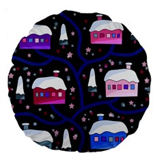 Magical Xmas Night Large 18  Premium Round Cushions by Valentinaart
