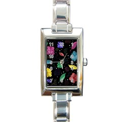 Colorful Floral Design Rectangle Italian Charm Watch