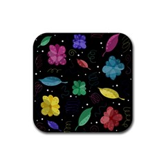 Colorful Floral Design Rubber Square Coaster (4 Pack)  by Valentinaart