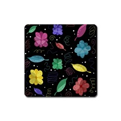 Colorful Floral Design Square Magnet by Valentinaart