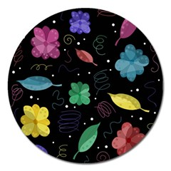 Colorful Floral Design Magnet 5  (round) by Valentinaart