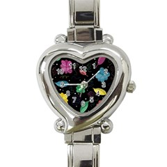 Colorful Floral Design Heart Italian Charm Watch by Valentinaart