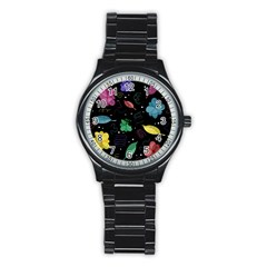 Colorful Floral Design Stainless Steel Round Watch by Valentinaart
