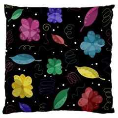 Colorful Floral Design Large Flano Cushion Case (one Side) by Valentinaart