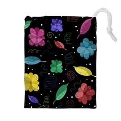Colorful Floral Design Drawstring Pouches (extra Large)