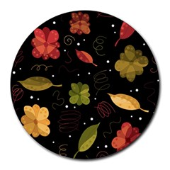 Autumn Flowers  Round Mousepads