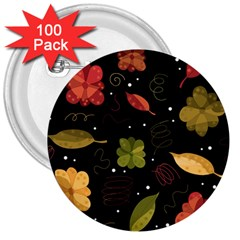 Autumn Flowers  3  Buttons (100 Pack)  by Valentinaart