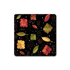 Autumn Flowers  Square Magnet by Valentinaart