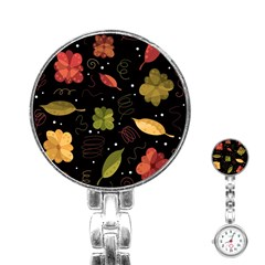 Autumn Flowers  Stainless Steel Nurses Watch by Valentinaart