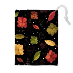 Autumn Flowers  Drawstring Pouches (extra Large) by Valentinaart