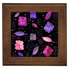Purple And Pink Flowers  Framed Tiles by Valentinaart