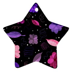 Purple And Pink Flowers  Ornament (star)  by Valentinaart