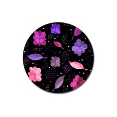 Purple And Pink Flowers  Magnet 3  (round) by Valentinaart