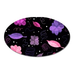 Purple And Pink Flowers  Oval Magnet