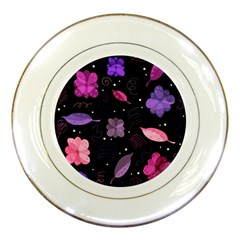 Purple And Pink Flowers  Porcelain Plates by Valentinaart