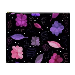 Purple And Pink Flowers  Cosmetic Bag (xl)
