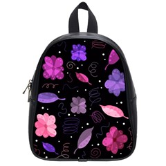 Purple And Pink Flowers  School Bags (small)  by Valentinaart