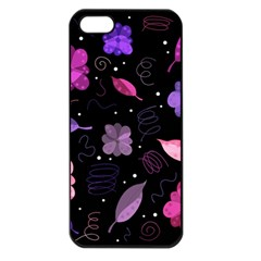 Purple And Pink Flowers  Apple Iphone 5 Seamless Case (black) by Valentinaart