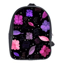 Purple And Pink Flowers  School Bags (xl)