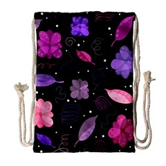 Purple And Pink Flowers  Drawstring Bag (large)