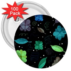 Blue And Green Flowers  3  Buttons (100 Pack)  by Valentinaart