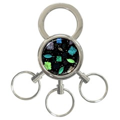 Blue And Green Flowers  3 Ring Key Chains by Valentinaart