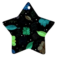 Blue And Green Flowers  Star Ornament (two Sides)  by Valentinaart
