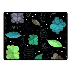 Blue And Green Flowers  Fleece Blanket (small) by Valentinaart
